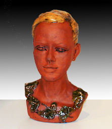 Ceramic bust of young woman