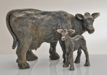 Ceramic cow and calf